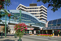 Downtown Anchorage, Alaska. Key Bank Plaza and walkway to the Center for Performing Arts.