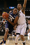24 February 2016: Notre Dame's Bonzie Colson (35) and Wake Forest's John Collins (20). The Wake Forest University Demon Deacons hosted the University of Notre Dame Fighting Irish at Lawrence Joel Veterans Memorial Coliseum in Winston-Salem, North Carolina in a 2015-16 NCAA Division I Men's Basketball game. Notre Dame won the game 69-58.