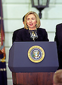 First lady Hillary Rodham Clinton thanks supporters and staff on the triumphant return of the Clintons and Gores to The White House in Washington, DC after their reelection victory on November 6, 1996.<br /> Credit: Ron Sachs / CNP