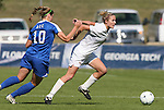 04 November 2009: Florida State's Becky Edwards (right) and Duke's Nicole Lipp (10). The Florida State University Seminoles defeated the Duke University Blue Devils 2-0 at Koka Booth Stadium in WakeMed Soccer Park in Cary, North Carolina in an Atlantic Coast Conference Women's Soccer Tournament Quarterfinal game.