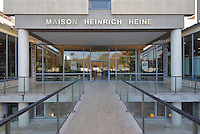 Entrance to the Maison de L'Allemagne or Germany House, or Maison Heinrich Heine, designed by Johannes Krahn, 1908-1974, and opened in 1956, in the Cite Internationale Universitaire de Paris, in the 14th arrondissement of Paris, France. The CIUP or Cite U was founded in 1925 after the First World War by Andre Honnorat and Emile Deutsch de la Meurthe to create a place of cooperation and peace amongst students and researchers from around the world. It consists of 5,800 rooms in 40 residences, accepting another 12,000 student residents each year. Picture by Manuel Cohen. Further clearances may be requested.