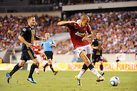 Gabriel Obertan (26) of Manchester United shoots and scores the games only goal. Manchester United (EPL) defeated the Philadelphia Union (MLS) 1-0 during an international friendly at Lincoln Financial Field in Philadelphia, PA, on July 21, 2010.