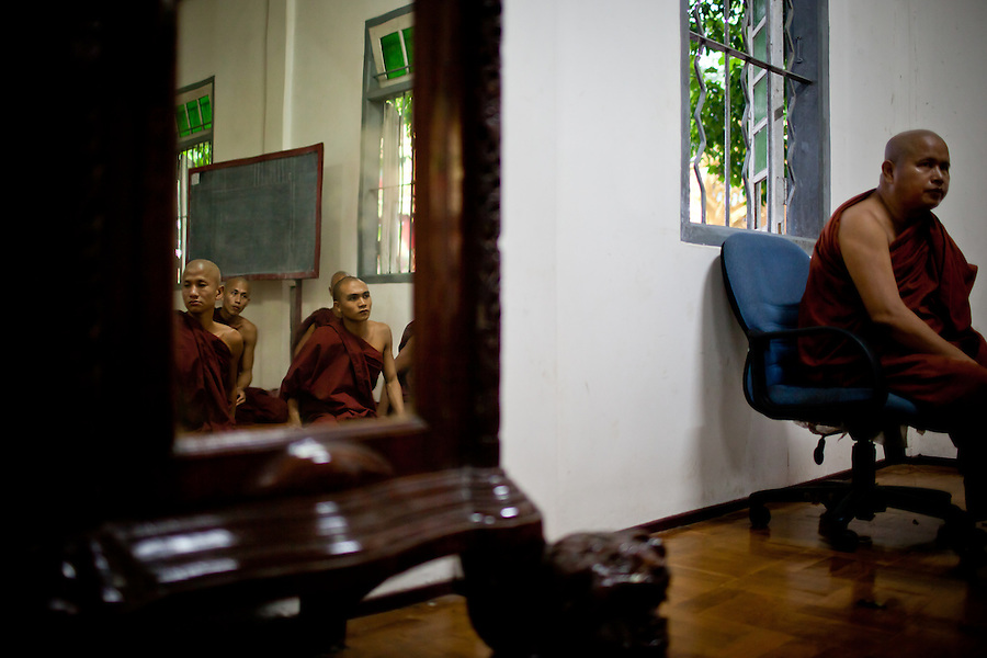A small class of monks gather with their leader and teacher to learn about gaining enlightenment through controlling their mind and thoughts.