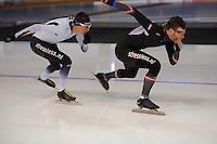 SPEED SKATING: CALGARY: Olympic Oval, 08-03-2015, ISU World Championships Allround, Bart Swings (BEL) en Haralds Silovs (LAT), ©foto Martin de Jong