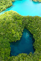Aerial view over the Rockislands and a secret lake at Pinchers Lagoon, Palau, Micronesia