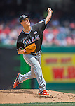 14 May 2016: Miami Marlins pitcher Justin Nicolino on the mound during the first game of a double-header against the Washington Nationals at Nationals Park in Washington, DC. The Nationals defeated the Marlins 6-4 in the afternoon matchup.  Mandatory Credit: Ed Wolfstein Photo *** RAW (NEF) Image File Available ***