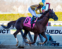 NEW YORK, NY - APRIL 08: Irish War Cry #8, ridden by Rajiv Maragh, wins the Wood Memorial Stakes at Aqueduct Racetrack on April 8, 2017 in South Ozone Park, New York. (Photo by Dan Heary/Eclipse Sportswire/Getty Images)