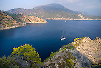 Fethiye to Kas, Turkey, October 2007. St Nicolas Island is a shelter for yachts. The island is littered with ancient Greek and Byzantine ruins, churches and fortresses. The Blue Cruise on a wooden sailing yacht, better known as gulet, is one of the best ways to explore the Turkish Mediterranean Coast. Photo by Frits Meyst / MeystPhoto.com