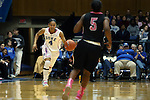 17 February 2013: Duke's Chloe Wells (4) and Wake Forest's Chelsea Douglas (5). The Duke University Blue Devils played the Wake Forest University Demon Deacons at Cameron Indoor Stadium in Durham, North Carolina in a 2012-2013 NCAA Division I and Atlantic Coast Conference women's college basketball game. Duke won 81-70.