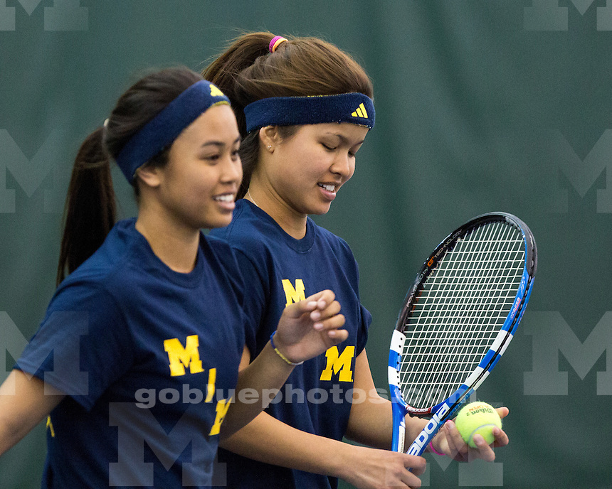 The University of Michigan women's tennis team beat Penn State, 5-2, at the Varsity Tennis Center in Ann Arbor, Mich., on April 19, 2013.