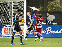 SANTA CLARA, CA - July 18, 2012: FC Dallas defender Jair Benitez (6) agonizes over missed penalty kick during the San Jose Earthquakes vs  FC Dallas match at the Buck Shaw Stadium in Santa Clara, California. Final score San Jose Earthquakes 2, FC Dallas 1.