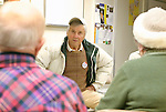 NEW MILFORD, CT-- 03 JANUARY 2008--010308JS06-Frank Adams, a cancer survivor, talks with others in a support group on Thursday at St. John's Episcopal Church in New Milford, talk about their concers with the recent turnover of doctors at New Milford Hospital.<br /> Jim Shannon/Republican-American