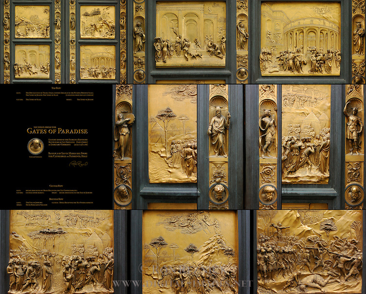Gates of Paradise Composite Image Ghiberti Baptistry of San Giovanni Florence