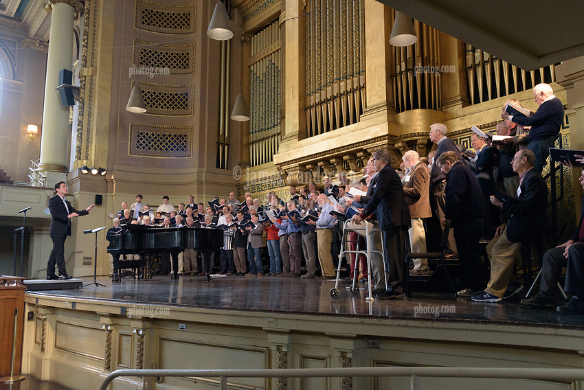 Yale Glee Club 155th Anniversary Celebration 1861-2016. TTBB Alumni Chorus Rehearsal at Woolsey Hall 29 October 2016