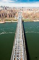 Over the Manhattan Bridge on the East River in Manhattan.