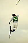 14 January 2005 - Lake Placid, New York, USA - Olga Koroleva representing Russia, loses a ski at the FIS World Cup Ladies' Aerial acrobatic competition, ranking 21st for the day at the MacKenzie-Intervale Ski Jumping Complex, in Lake Placid, NY. ..Mandatory Credit: Ed Wolfstein Photo.