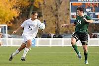 Jacob Rubinstein (25) of the Monmouth Hawks. Dartmouth defeated Monmouth 4-0 during the first round of the 2010 NCAA Division 1 Men's Soccer Championship on the Great Lawn of Monmouth University in West Long Branch, NJ, on November 18, 2010.