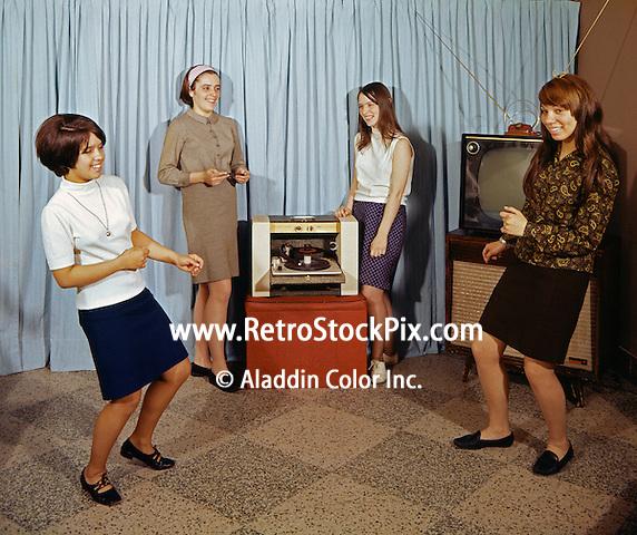 Saint John Villa Academy, NY. Teenagers dancing to an album on the turntable