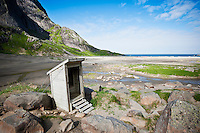 Wood drop toilet at Bunes beach, Moskenesoy, Lofoten islands, Norway