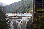 Elwha River Restoration, Glines Canyon Dam removal, Lake Mills, March 16, 2012, Largest ram removal project in US history, Olympic National Park, Olympic Peninsula, Washington State, Pacific Northwest, USA, North America, This is the upper of two dams in the project.