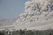 Large pyroclastic flow on Sinabung Volcano, Sumatra, Indonesia
