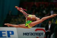 "Evgenia Kanaeva of Russia split leaps at 2008 World Cup Kiev, ""Deriugina Cup"" in Kiev, Ukraine on March 23, 2008."
