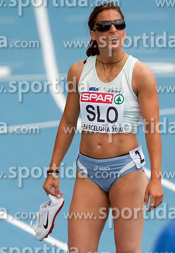 Urska Klemen of Slovenia after competing during  the 4x400m Womens Relay Heats during day five of the 20th European Athletics Championships at the Olympic Stadium on July 31, 2010 in Barcelona, Spain.  (Photo by Vid Ponikvar / Sportida)