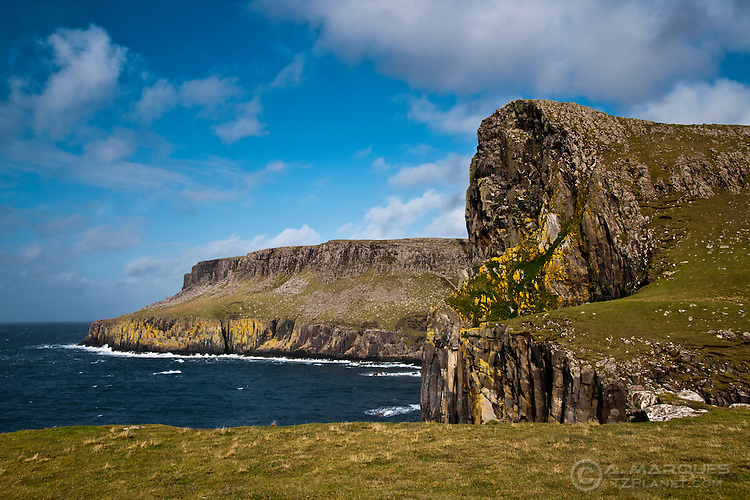 Rocky Cliffs near Neist Point, Isle of Skye, Scotland..Neist Point is the most Westerly point of the Isle of Skye..Body of water is the Sea of the Hebrides.
