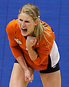 Illinois' Colleen Ward celebrates after winning a point against UCLA during game action of the 2011 NCAA Division I Women's Volleyball National Championship Match at the Alamodome on Saturday, Dec. 17, 2011. UCLA won in four sets, 25-23, 23-25, 26-24, 25-16.