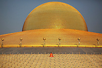 A Buddhist monk prays at the Wat Phra Dhammakaya temple in Pathum Thani province, north of Bangkok before a ceremony on Makha Bucha Day March 4, 2015. The Dhammakaya temple members include some of Thailand's most powerful politicians and is regarded as the country's richest Buddhist temple. Makha Bucha Day honours Buddha and his teachings, and falls on the full moon day of the third lunar month.  REUTERS/Damir Sagolj (THAILAND)
