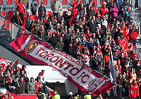 20 April 2013: The Toronto FC fans brave the cold temperature in support during the second half in an MLS game between the Houston Dynamo and Toronto FC at BMO Field in Toronto, Ontario Canada..The game ended in a 1-1 draw...