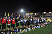 Bath United players line up prior to the match. Remembrance Rugby match, between Bath United and UK Armed Forces on November 9, 2015 at the Recreation Ground in Bath, England. Photo by: Patrick Khachfe / Onside Images