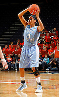 CHARLOTTESVILLE, VA- JANUARY 5: Candace Wood #4 of the North Carolina Tar Heels handles the ball during the game against the Virginia Cavaliers on January 5, 2012 at the John Paul Jones arena in Charlottesville, Virginia. North Carolina defeated Virginia 78-73. (Photo by Andrew Shurtleff/Getty Images) *** Local Caption *** Candace Wood