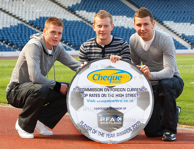 James McCarthy, Andrew Driver and James McArthur promote the PFA Scotland young player of the year award