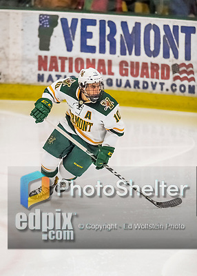 18 December 2016: University of Vermont Catamount Forward Travis Blanleil, a Junior from Kelowna, British Columbia, in third period action against the Union College Dutchmen at Gutterson Fieldhouse in Burlington, Vermont. The Catamounts fell to their former ECAC hockey rivals 2-1, as the Dutchmen sweep the two-game weekend series. Mandatory Credit: Ed Wolfstein Photo *** RAW (NEF) Image File Available ***
