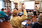 T10  Veronica Martzahl, Records Archivist, Tufts Digital Collections and Archives, gives a talk on preserving and archiving records at the Medford Historical Society on Saturday, May 11, 2013. (Alonso Nichols/Tufts University)