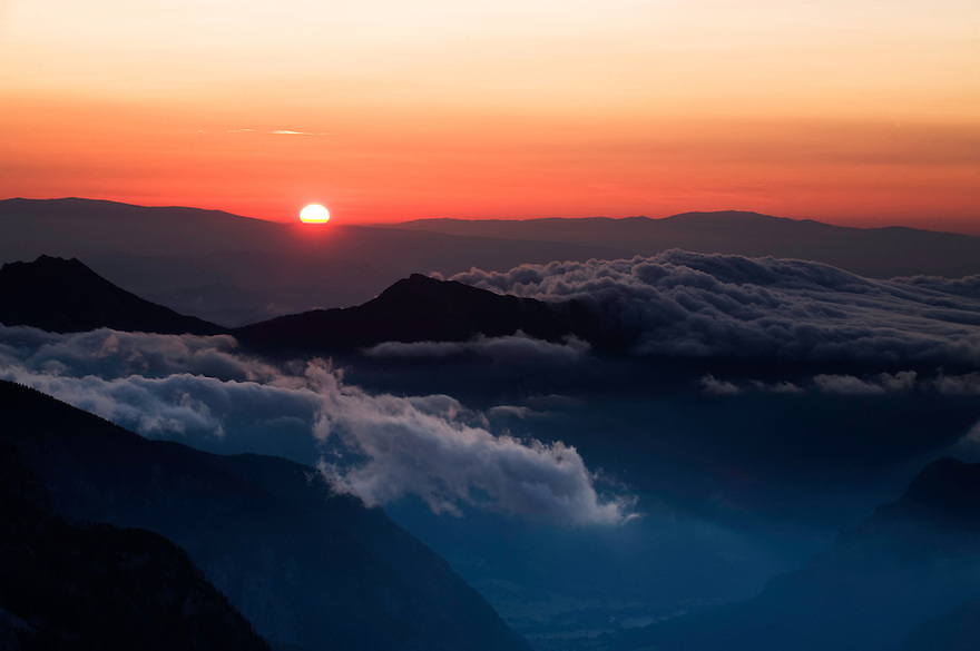Sunrise in the Julian Alps, view from Mount Kriz<br /> Triglav National Park, Slovenia<br /> July 2009