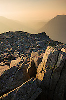 View from rocky summit of Glyder Fach towards Ogwen valley Snowdonia national park, Wales