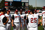 Manager David Bell speaks with the team. The 2010 Carolina Mudcats during a practice at Five County Stadium in Zebulon, North Carolina, April 6, 2010.