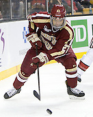 Quinn Smith (BC - 27) - The Boston College Eagles defeated the Harvard University Crimson 4-1 in the opening round of the 2013 Beanpot tournament on Monday, February 4, 2013, at TD Garden in Boston, Massachusetts.