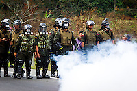 COLOMBIA, Cauca, September 17, 2002..Colombian peasants protest by government polices in the province of Cauca. VIEWpress / Eduardo Munoz Alvarez.