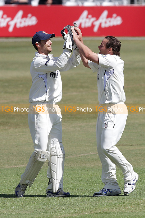 James Foster congratulates Graham Napier (R) on the wicket of Jamie Dalrymple - Essex CCC vs Middlesex CCC - LV County Championship Division Two cricket at the Ford County Ground, Chelmsford - 24/05/11 - MANDATORY CREDIT: Gavin Ellis/TGSPHOTO - Self billing applies where appropriate - Tel: 0845 094 6026