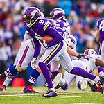 19 October 2014: Minnesota Vikings quarterback Teddy Bridgewater scrambles on a keeper play in the fourth quarter against the Buffalo Bills at Ralph Wilson Stadium in Orchard Park, NY. The Bills defeated the Vikings 17-16 in a dramatic, last minute, comeback touchdown drive. Mandatory Credit: Ed Wolfstein Photo *** RAW (NEF) Image File Available ***