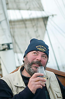 Hebrides, Scotland, May 2010. Scotland and whisky expert, Alex Moens, board member of the Flemish malt whisky society.  Dutch Tallship Thalassa sails between the islands along the Scotish west coast in search of the quality single malt whisky that is produced by the many distilleries. Photo by Frits Meyst/Adventure4ever.com