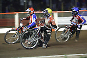 Heat 10 - Jonsson (red), Swiderski (yellow), Lanham - Lakeside Hammers vs Peterborough Panthers - Sky Sports Elite League at Arena Essex, Purfleet - 31/08/07  - MANDATORY CREDIT: Gavin Ellis/TGSPHOTO - SELF-BILLING APPLIES WHERE APPROPRIATE. NO UNPAID USE. TEL: 0845 094 6026..
