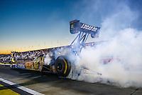 Nov 11, 2016; Pomona, CA, USA; NHRA top fuel driver Morgan Lucas during qualifying for the Auto Club Finals at Auto Club Raceway at Pomona. Mandatory Credit: Mark J. Rebilas-USA TODAY Sports