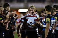 Billy Twelvetrees of Gloucester Rugby looks dejected after the match. West Country Challenge Cup match, between Bath Rugby and Gloucester Rugby on September 26, 2015 at the Recreation Ground in Bath, England. Photo by: Patrick Khachfe / Onside Images