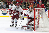 Viktor Dombrovskiy (Harvard - 27), Merrick Madsen (Harvard - 31) - The Harvard University Crimson defeated the St. Lawrence University Saints 6-3 (EN) to clinch the ECAC playoffs first seed and a share in the regular season championship on senior night, Saturday, February 25, 2017, at Bright-Landry Hockey Center in Boston, Massachusetts.