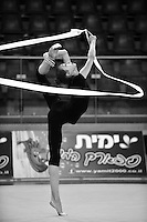 Viktoria Mazur of Ukraine performs balance with ribbon during training at 2011 Holon Grand Prix at Holon, Israel on March 3, 2011.  (Photo by Tom Theobald).