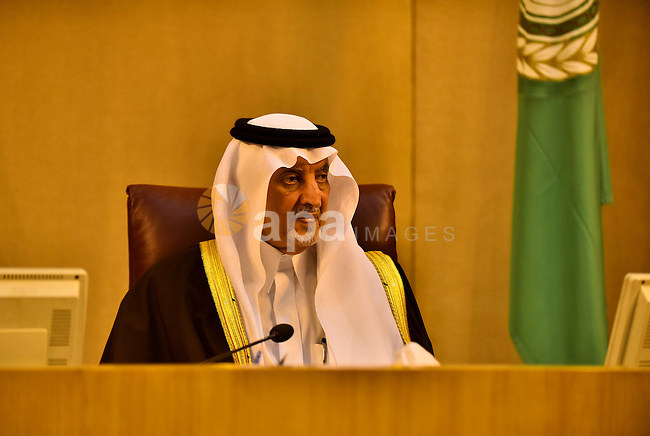 Saudi Prince Khaled Al-Faisal, founder of the Arab Thought Foundation speaks during a meeting in the Arab League's headquarters in the Egyptian capital, Cairo, on Dec. 07, 2015. The Arab Thought Foundation is an international independent non-governmental organization. It has no inclination to any party or religious group; it is rather dedicated to promote the Nation's pride with all its principles, values and ethics, in an atmosphere of a responsible freedom. Photo by Amr Sayed